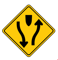Trubicars Divided highway begins keep to the right