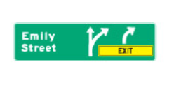 Trubicars Advance signs use arrows to show which lanes lead off the freeway