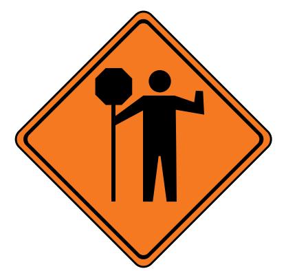 Trubicars Traffic Control Person Ahead