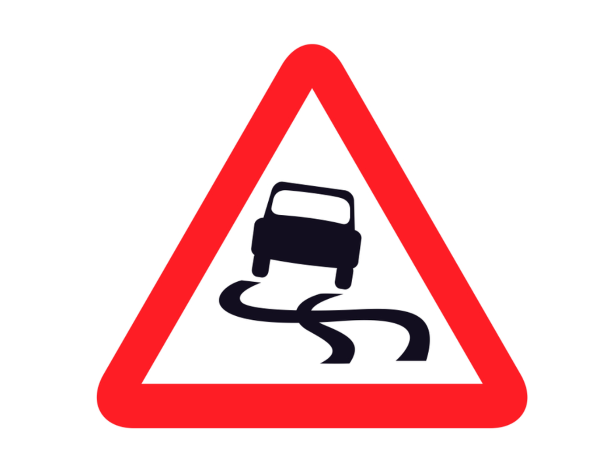 skidding car sign